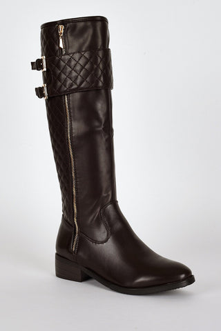 Quilted Panel Double Buckle Detail Calf Boots-Footwear > Boots-Loluxe