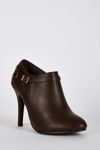 Quilted Panel High Heel Ankle Boots-Footwear > High Heels-Loluxe