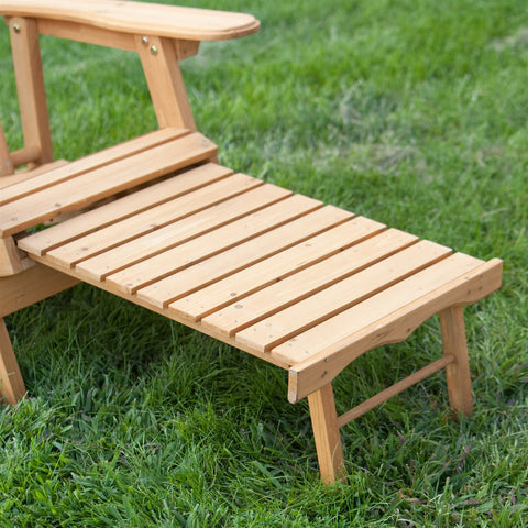Reclining Adirondack Chair with Pull-out Ottoman in Natural Fir Wood-Outdoor > Outdoor Furniture > Adirondack Chairs-Loluxe