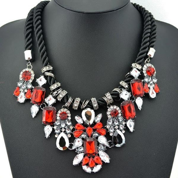 Red Crystal Pendant Chunky Statement Necklace Hemp Rope-Loluxe