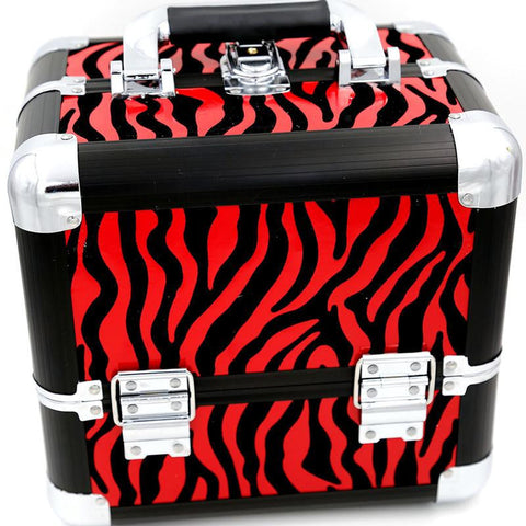 Red Zebra Multifunctional Cosmetic Case Makeup Train Case/Organizer-Loluxe