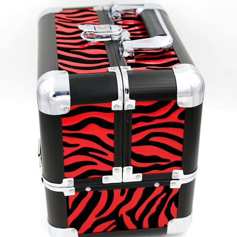 Red Zebra Multifunctional Cosmetic Case Makeup Train Case/Organizer