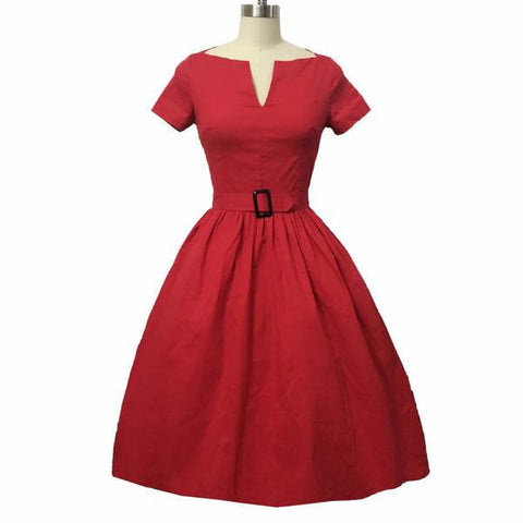 Retro 50's-Style Belted Short-Sleeve Summer Party Dress S-4XL 3 Colors