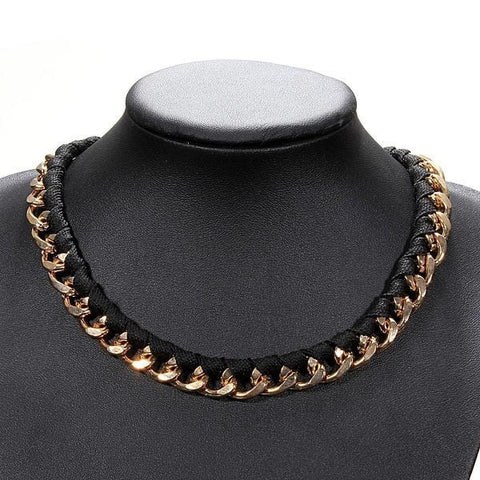 Retro Black Leather Gold Alloy Chain Link Choker Necklace-Loluxe