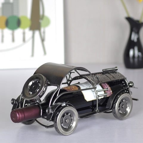 Retro Classic Metal Car Wine Bottle Holder Rack-Kitchen > Wine Racks and Coolers-Loluxe