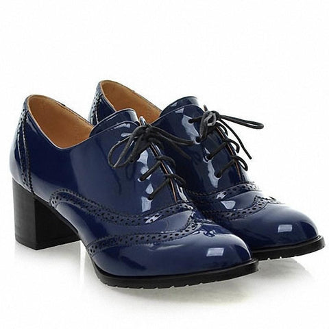 Retro Classic Patent Oxford Square-Heel Shoes 3 Colors-Loluxe