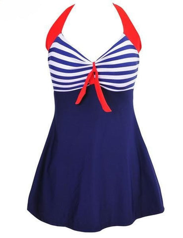 Retro Nautical Skirted Figure-Flattering One-Piece Bathing Suit M-4XL 2 Colors-Loluxe