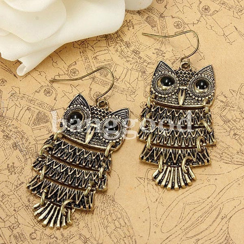 Retro Vintage Cute Owl Big Black Eyes Bronze Pendant Dangle Earring-Loluxe