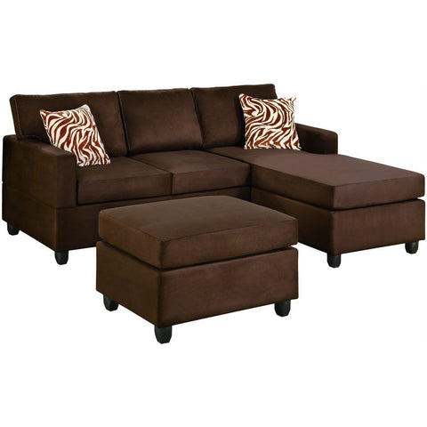Reversible 3-Piece Sectional Sofa Set in Chocolate Microfiber-Living Room > Sofas-Loluxe