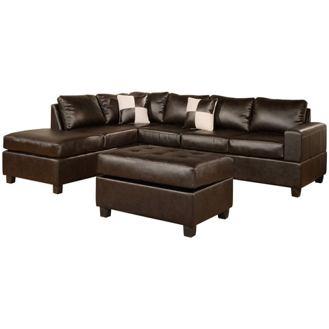 Reversible Soft Touch Faux Leather 3-Piece Sectional Sofa Set-Living Room > Sofas-Loluxe