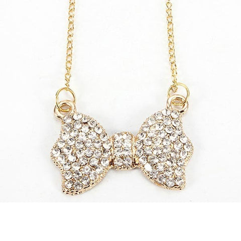 Rhinestone Bowknot Pendant Long Chain Necklace Gold Plated-Loluxe