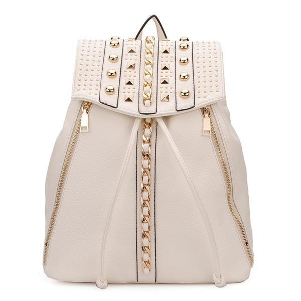 Rivet Accented Leather Ladies Drawstring Backpack-backpack bookbag-Loluxe
