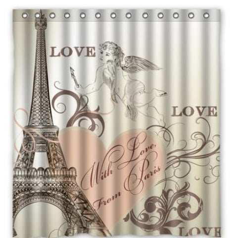 "Romantic Paris Effiel Tower Waterproof 48 x 72"" Fabric Shower Curtain-Loluxe"
