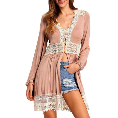 Romantic Pink Lace Trim Button-Front V-Neck Casual Loose Top One Size-Loluxe