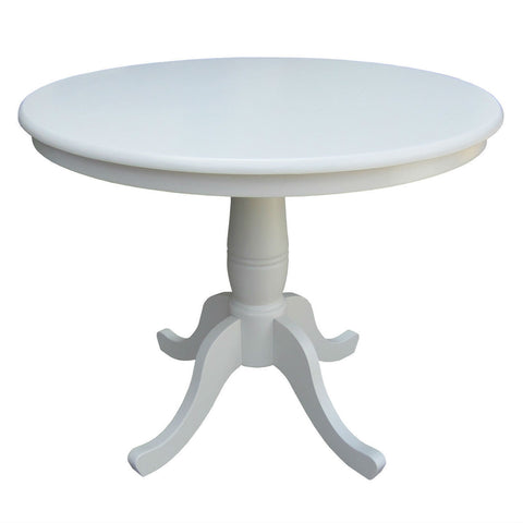 Round 30-inch Dining Table In White Wood Finish and Pedestal Base-Dining > Dining Tables-Loluxe