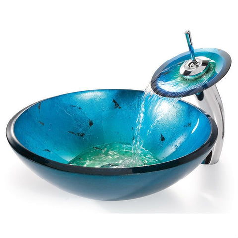 Round Blue Tempered Glass Vessel Bathroom Sink-Bathroom > Bathroom Sinks-Loluxe