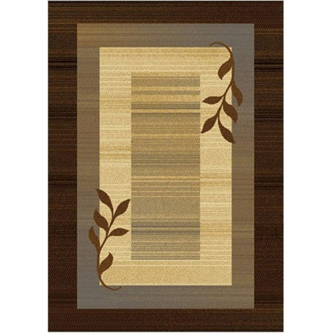 Royalty Collection Brown/Blue Modern Area Rug with Vine Leaves Design-Accents-Loluxe