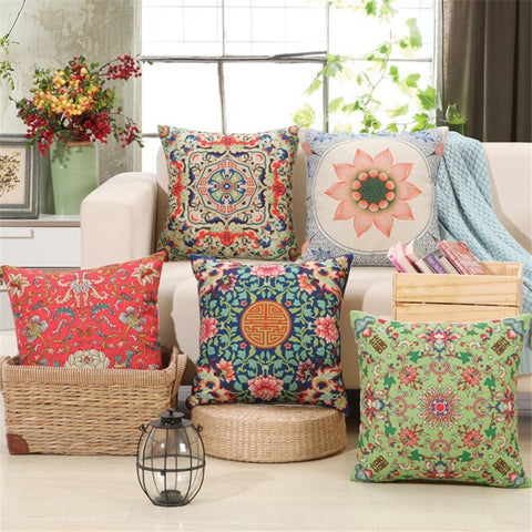 "RUBI 18"" Square Cushion Cover Cotton Home Decor 5 Styles-Loluxe"