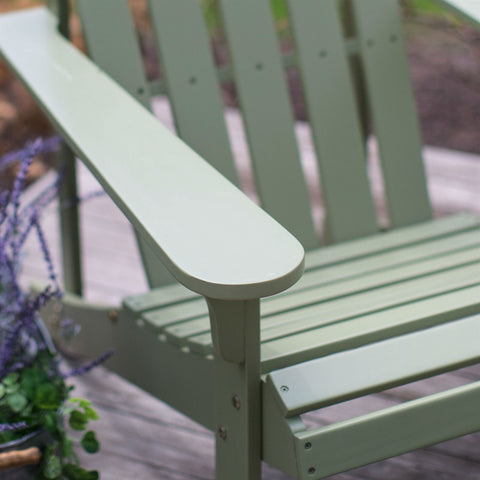 Sage Green Wood Adirondack Chair for Outdoor Patio Garden Deck-Outdoor > Outdoor Furniture > Adirondack Chairs-Loluxe