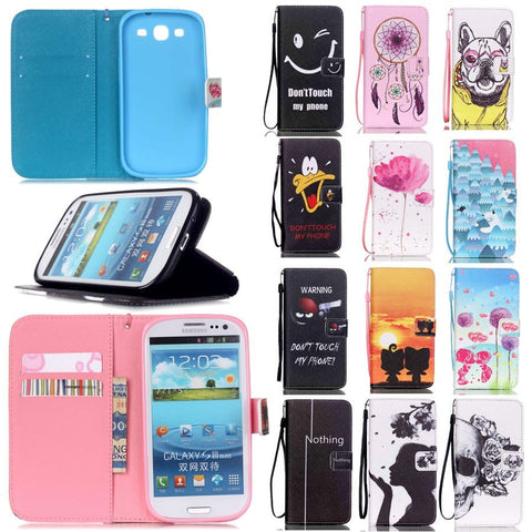 Samsung Galaxy S3 Designer Print Leather Stand Function Magnet Flip Wallet Cellphone Case w/Card Slots - 12 Designs-Loluxe