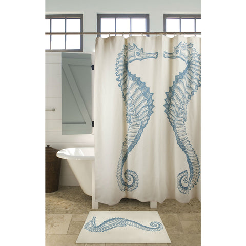 Seahorse Shower Curtain Beach Ocean Style 100% Cotton-Bathroom > Shower Curtains-Loluxe