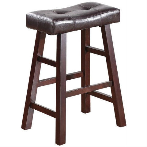Set of 2 - 24-inch Dark Cherry Counter Stools with Faux Leather Seat-Dining > Barstools-Loluxe