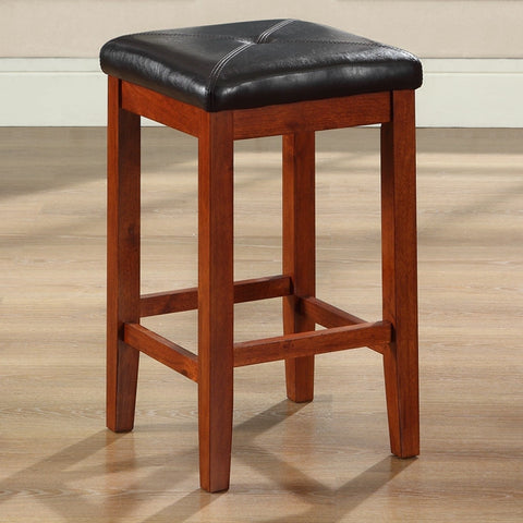 Set of 2 - 24-inch High Cherry Bar Stools w/ Cushion Faux Leather Seat-Dining > Barstools-Loluxe