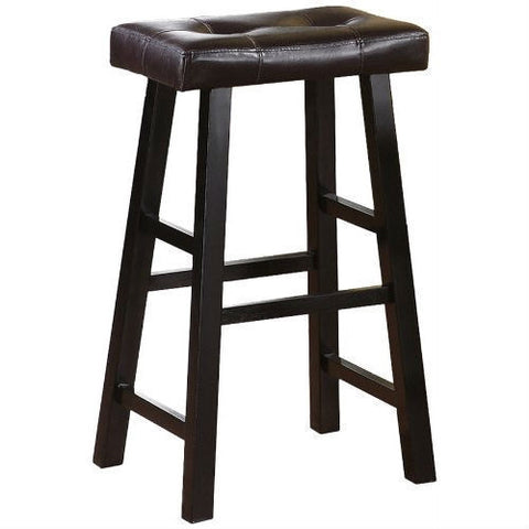 Set of 2 - 29-inch Espresso Bar Stools with Faux Leather Seat-Dining > Barstools-Loluxe