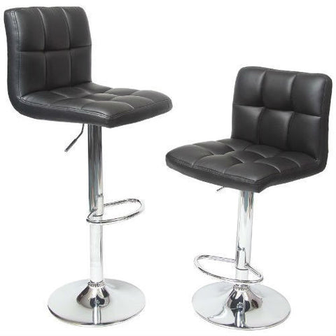 Set of 2 - Adjustable Height Bar Stool with Black Faux Leather Cushion Seat-Dining > Barstools-Loluxe