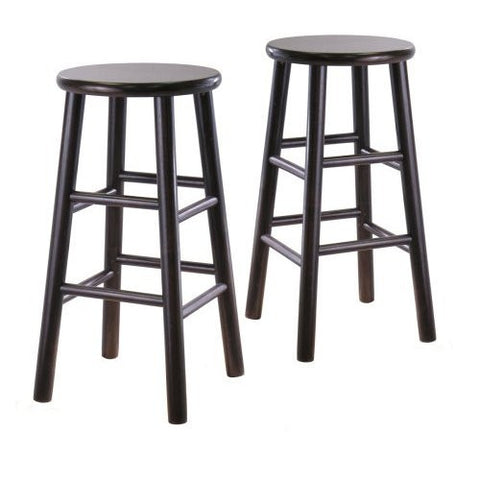 Set of 2 Backless 24-inch Bar Stools in Espresso Finish-Dining > Barstools-Loluxe