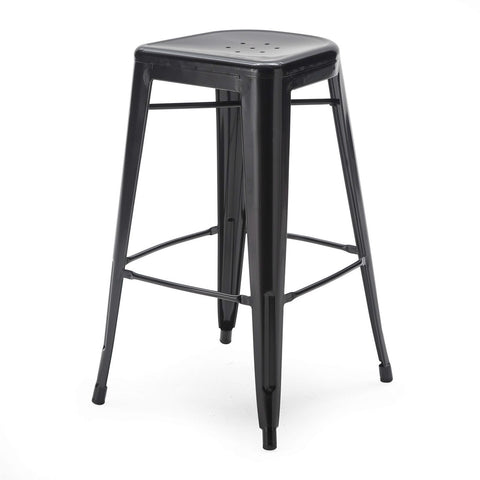 Set of 2 Bar Stools - Modern 30-inch Black Metal Barstools-Dining > Barstools-Loluxe