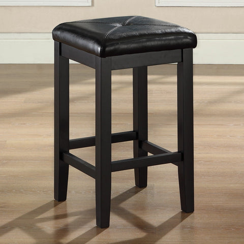 Set of 2 - Black 24-inch Backless Barstools with Faux Leather Seat-Dining > Barstools-Loluxe