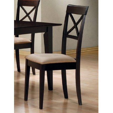 Set of 2 - Cappuccino Cross Back Dining Chair with Fabric Seat-Dining > Dining Chairs-Loluxe