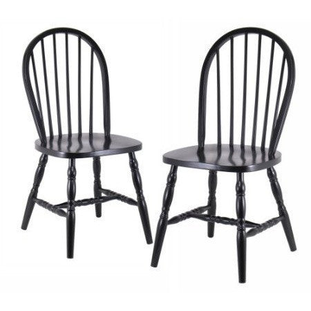 Set of 2 - Classic Solid Wood Dining Chairs in Black Finish-Dining > Dining Chairs-Loluxe