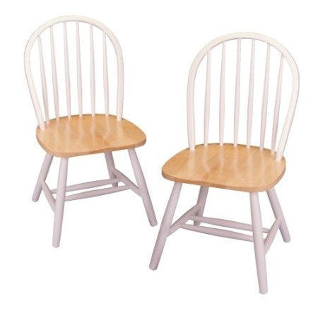 Set of 2 - Classic Wood Dining Chairs in Natural & White-Dining > Dining Chairs-Loluxe
