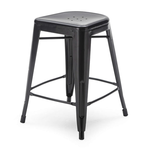 Set of 2 - Modern 24-inch Black Metal Bar Stools-Dining > Barstools-Loluxe