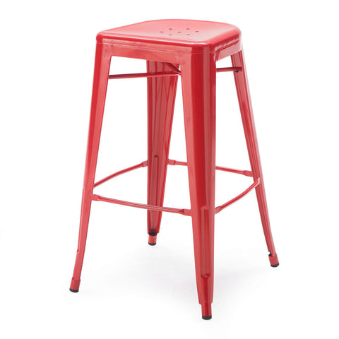 Set of 2 - Modern 30-inch Metal Bar Stools in Red Powder Coat Finish-Dining > Barstools-Loluxe