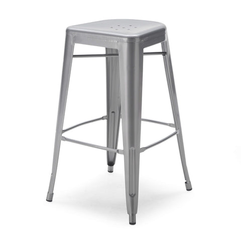 Set of 2 - Modern 30-inch Steel Bar Stools in Gun Metal Finish-Dining > Barstools-Loluxe