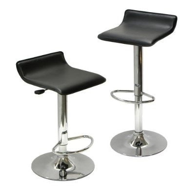 Set of 2 Modern Air-Lift Adjustable Bar Stools with Black Seat-Dining > Barstools-Loluxe