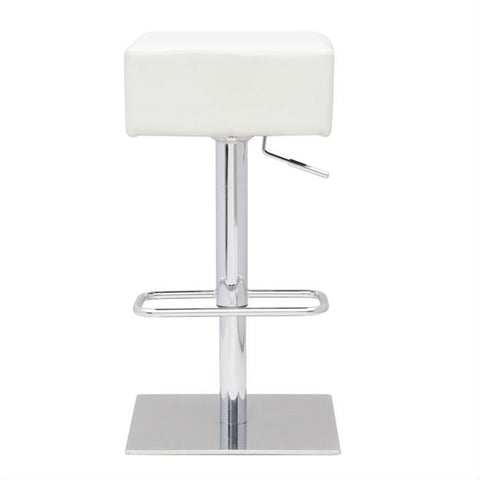 Set of 2 - Modern Backless Swivel Adjustable Height Barstool with White Faux Leather Seat-Dining > Barstools-Loluxe