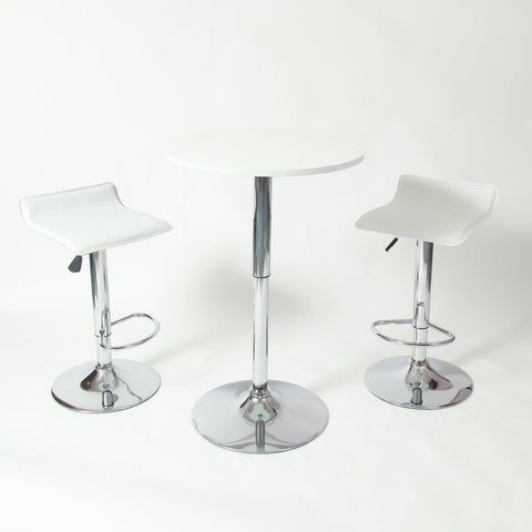 Set of 2 - Modern Chrome Air Lift Swivel Bar Stool with White Seat-Dining > Barstools-Loluxe