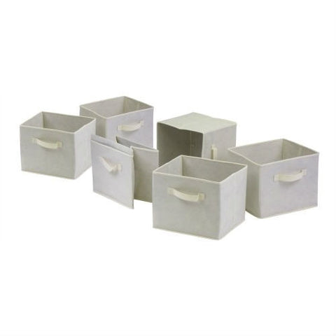 Set of 6 Foldable Fabric Storage Baskets in Beige-Accents > Storage Cabinets-Loluxe