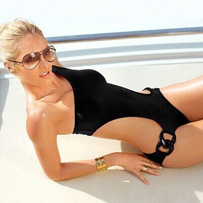 Sexy Hot Black Blackless One-Shoulder Buckle One-Piece Bathing Suit S-XL 4 Colors-Loluxe