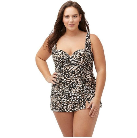 Sexy Leopard-Print Padded Sweetheart Neck 2-PC Tankini XL-4XL-Loluxe