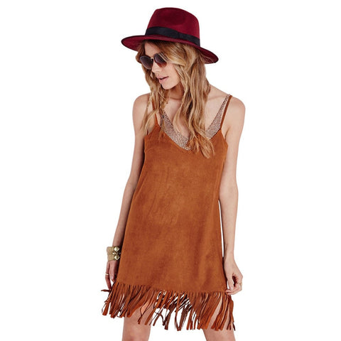 Sexy Suede Strappy A-Line V-Neck Tassel Fringe Ladies Dress S-XL-Loluxe