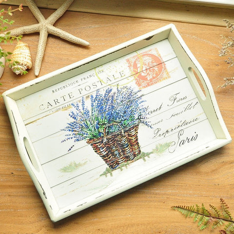 Shabby Chic Vintage Style Wooden Lavender Postmarked Serving Tray-Loluxe