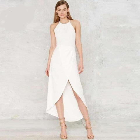 Simple Elegant White Halter-Style Hi-Lo Summer Dress S-2XL-Loluxe