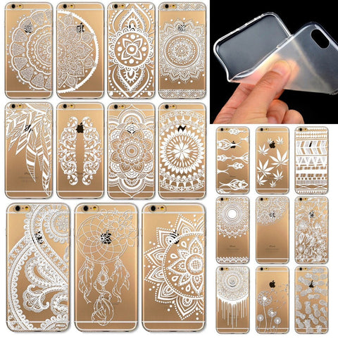 "Simple Silicon Clear Vintage Design Soft Cellphone Back Cover for iPhone 6 4.7"" - 20 Patterns-Loluxe"