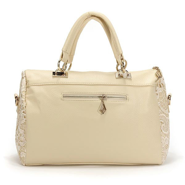 Elegant Lace Women's Zipper-Accent Satchel Handbag 2 Colors
