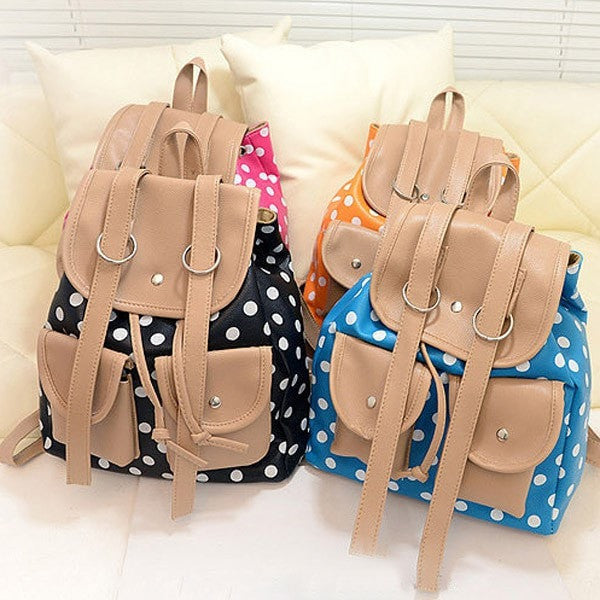 Polka Dot Multipocketed Backpack 4 Colors